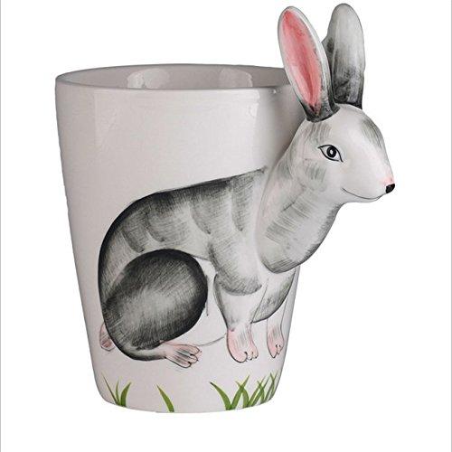 Hoga Max Porzellan Tasse Kaffeebecher 3D Tiermotive 400 ml HF149 (Hase)