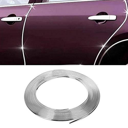 Tira de moldura de cromo plateado para coche, no adhesiva, 8 mm (0,8 cm) x 15 m