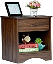 DeckUp Bei Side Table/End Table with Storage and Drawer (Walnut, Matte Finish)