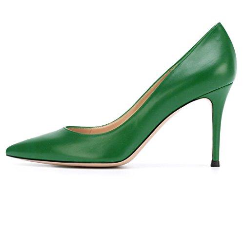 elashe Zapatos de Tacón - 8 cm Clásicas Tacones Altos - Boda Wedding Cerrado Mujer Verde EU38