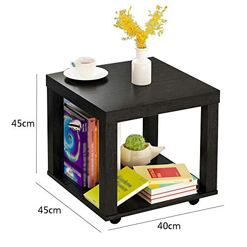 YueQiSong Modern Minimalist Living Room Sofa Side Table Small Coffee Table Living Room Dining Room Small Table, Black, 40 * 40 * 45cm