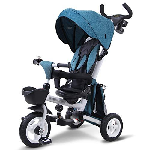 BLWX - Kinder dreirädriges Fahrrad faltendes Baby 1-3-5 Jahre Alter Trolley-selbstfahrender Kinderwagen-Leichter Wagen Kinderwagen (Farbe : Blau)