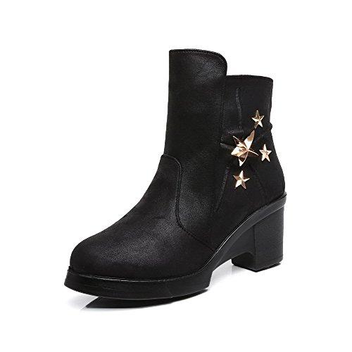 VogueZone009 Damen Hoher Absatz Eingelegt Rund Zehe Reißverschluss Stiefel mit Metallisch, Schwarz, 35