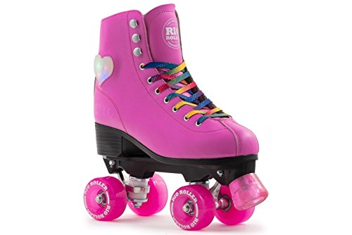 Rio Roller Figure Lights LED Herz Kinder / Erwachsenen Quad Rollschuhe Pink (Uk 3 Euro 35,5)