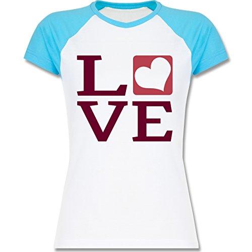 Valentinstag - LOVE Herz Typographie - zweifarbiges Baseballshirt / Raglan T-Shirt für Damen Weiß/Türkis
