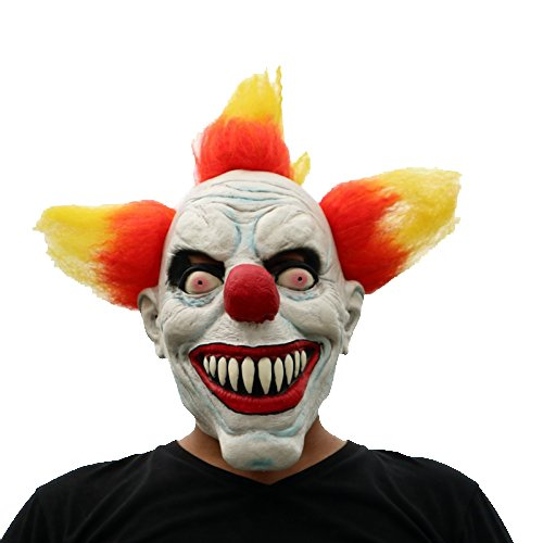 Horror Clown mit Haaren böser Clown beängstigend scary Maske mask Kopf aus sehr hochwertigen Latex Material mit Öffnungen an Augen Halloween Karneval Fasching Kostüm Verkleidung für Erwachsene Männer und Frauen Damen Herren gruselig Grusel Zombie Monster Dämon Horror Party Party (Scary Halloween Clown)