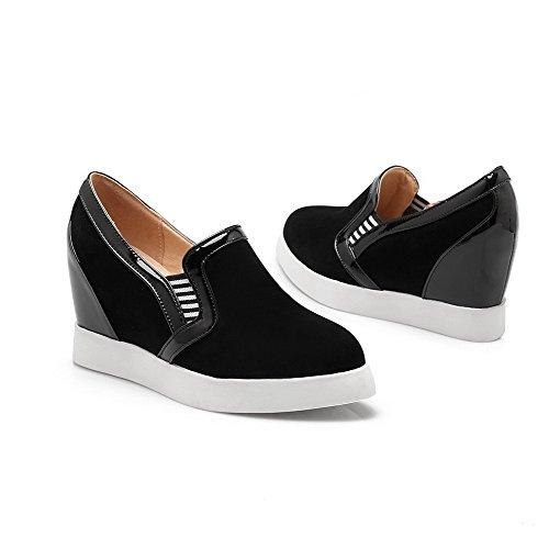 VogueZone009 Femme Tire Rond à Talon Haut Couleurs Mélangées Chaussures Légeres Noir