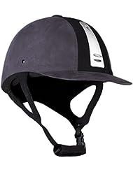 Horze–Casco de equitación halorider negro, color Dark Grey/Black, tamaño 53