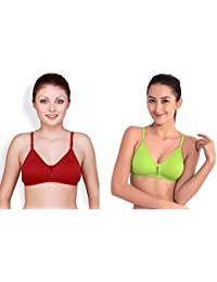 5bb6947cd Floret Katrina Women s T-Shirt Non Padded Bra Maroon and Green (Pack of 2