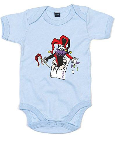 Harley Quinn, Gedruckt Baby Strampler - Dusty Blue/Transfer 0-3 Months