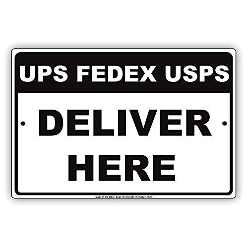 WallAdorn UPS FedEx USPS Deliver Here Drop Off Mail Deliveries Area Alert Caution Eisen Poster Malerei Blechschild Vintage Wall Decor für Cafe Bar Pub Home (Sichere E-mail-drop)