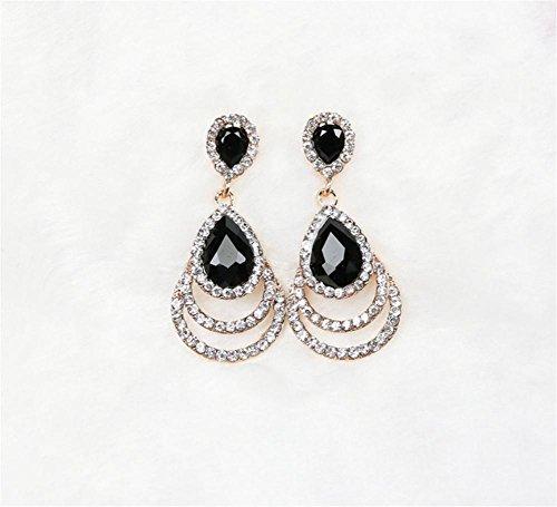 HYHAN Signore orecchini di temperamento di modo High-End Gocce di cristallo orecchini gioielli esagerati orecchini (Cristallo Turchese Croce)