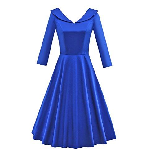 YouPue Femmes 50s 60s Style Robe à 3/4 Manches Vintage Robe de Cocktail Party Bleu