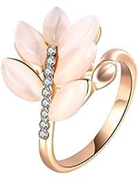 Harilla Forma De Hoja Creada Opal Band Crystal 6/7/8 Size BBF Friend Gift Jewelry