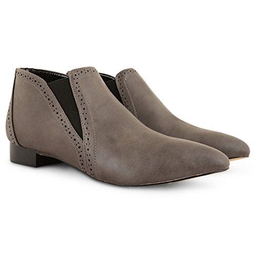 Damen Damen Dolcis Spitz Zulaufender Zehenbereich auf Slip Flache Chelsea Brogue Stiefeletten Schuhe Grau