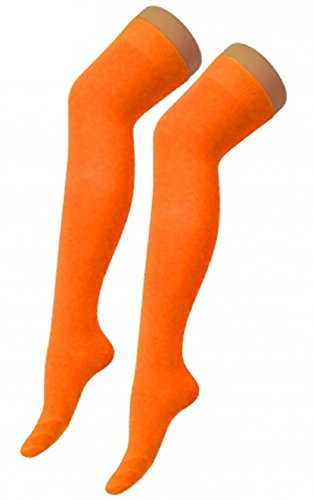 Momo&Ayat Fashions Damen Herren Mädchen Jungen Streifen Argyle Schiedsrichter Check Lycra Baumwolle Plain Bow Knöchel über die Kniestrümpfe (Fußgröße 4-6, Orange)