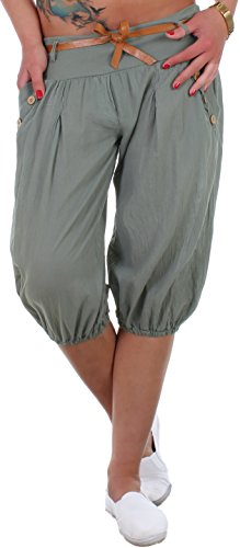 BLACKdenim Pumphose Damen Baggy Sommerhose Strandhose mit Zierknöpfen Khaki Capri