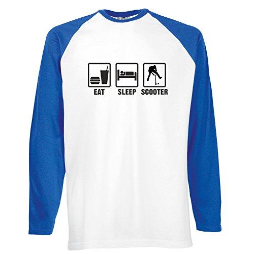 Brand88 - Eat Sleep Scooter, Langarm Baseball T-Shirt Weiss & Blau