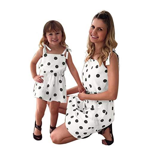 Vestido Elegantes Lunares Madre-Hija Ropa Familia