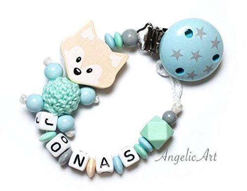 Schnullerkette mit Namen - MÄDCHEN -FUCHS - Junge - HEXAGON perle Mint,Blau,Natur