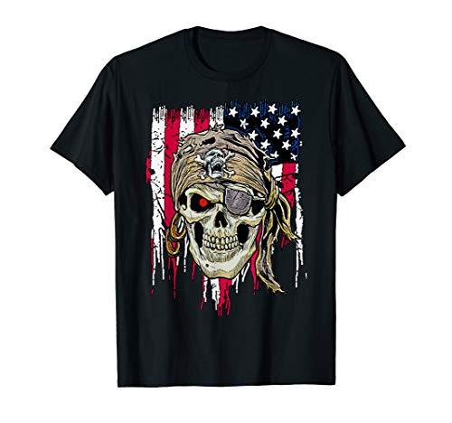 Schädel-amerikanische Flagge USA fantastisch cool T-Shirt -