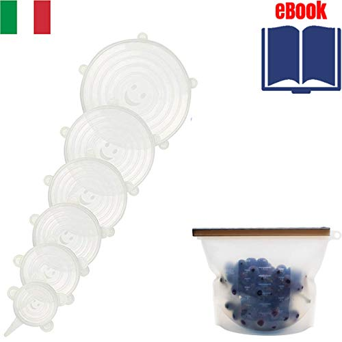 Shurit Couvercle Silicone Alimentaire Extensible Hermétique 6 Set Étirable Élastique Universels Adaptables Protection Micro-Onde Anti Débordement Magique Réutilisables Conservation Aliments sans Bpa