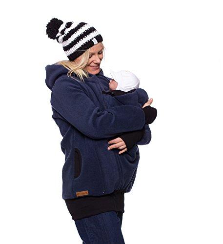 """Milchshake - warme 3in1 Tragejacke für Mama und Baby - Polarfleece - """"Arctica"""" - stahlblau - XL"""