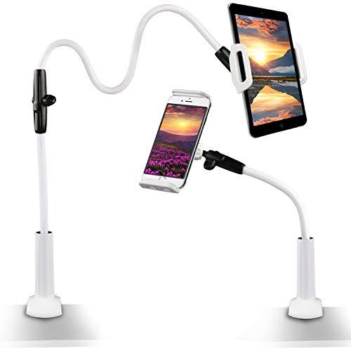 Gifort Schwanenhals Halterung Halter 360 ° Drehen Einstellbare faltbar Halter für 4-10.6 Zoll Großbild Telefon/Tablet iPad Android /IOS Device (Weiß)