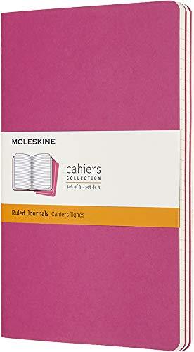 Moleskine Cahier Journal, Set 3 Quaderni con Pagina a Righe, Copertina in Cartoncino e Cucitura a Vista, Colore Rosa Cinetico, Dimensione Large 13x 21 cm, 80 Pagine