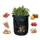 XiHone 2 Pack PE Black Garden Potato Tomato Grow Bags with Flap and Handles Aeration Fabric Pot Planter Bag for Farm Home Garden Aeration