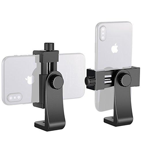 Neewer Smartphone Halter Vertikale Halterung mit 1/4-Zoll-Stativhalterung C Handy Klemme Stativadapter für iPhone, Samsung und andere Handys mit ihren Breite innerhalb von 1.9-3.9 Zoll (schwarz) (5 8-stativ-mount)