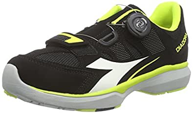 Diadora  GYM, Chaussures de cyclisme spéciales vélo de course mixte adulte - Noir - Schwarz (Black/yellow fluo/white6003), Taille 37