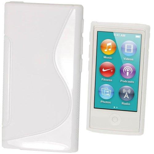 igadgitz Zweiton Weiß Dauerhafte Kristall Gel Tasche TPU Hülle Schutzhülle Etui für Apple iPod Nano 7. Gen Generation 7G 16GB + Displayschutzfolie - Ipod Gb Nano 3. 16 Generation