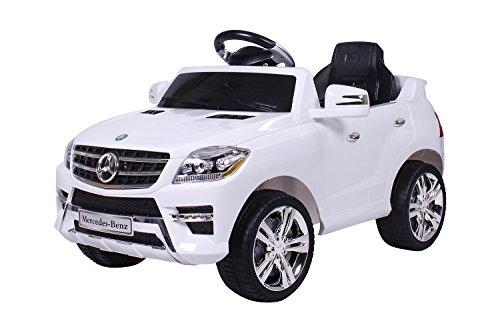 #moleo M00005390 – Mercedes-Benz ML Kinder Auto mit 2 Motoren MP3 Fernbedienung, weiß#