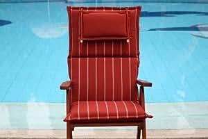 Hambiente Skandia Coussin à rayures pour fauteuil relax à haut dossier Terre cuite