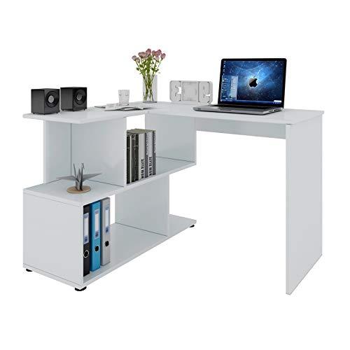 Woltu Escritorio de Computadora Escritorio de Esquina Mesa de Trabajo PC con Estantes 120x100x77cm (WxDxH) MDF Blanco TS64ws
