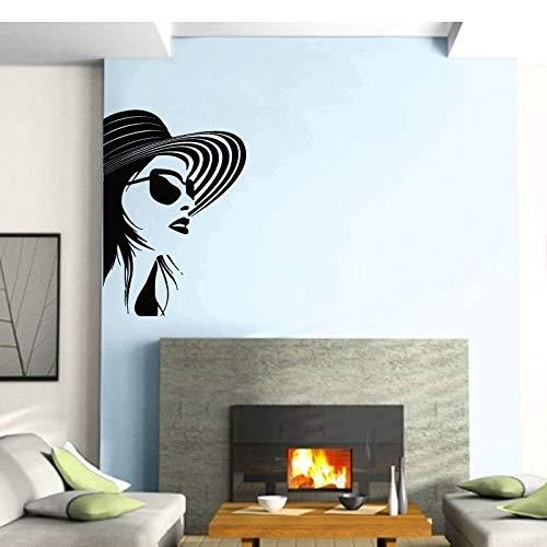 Mode stil brille mädchen vinyl applique schönheitssalon hause salon wandaufkleber mode wandbild 57 * 82 cm