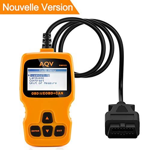 AQV OBD2 Scanner Lecteur de Code de Défaut Véhicule OBD Dispositif de Diagnostic (orange)