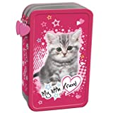 My Little Friend Katzenmotiv komplett gefüllte Federtasche Federmappe für Mädchen Federmäppchen rosa große 2 Fächer Doppelreißverschluss Inhalt 26-tlgs.