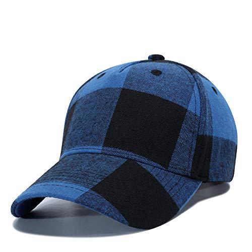 YanLong Männer Frauen Plaid Cotton Baseball Cap Lässige Strapback Golf Hut Sommer Herbst Einstellbare Snapback Caps Casquette Sonnenhüte Blau -