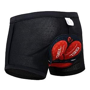 X-TIGER Hombres Ropa Interior de Bicicleta con 5D Gel Acolchado MTB Ciclismo Pantalones Cortos,Color Negro con Rojo,XXXL