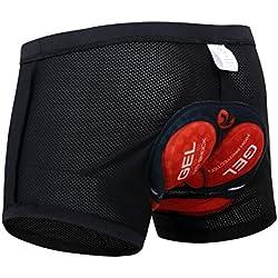 X-TIGER Hombres Ropa Interior de Bicicleta con 5D Gel Acolchado MTB Ciclismo Pantalones Cortos, Color Negro con Rojo, XL