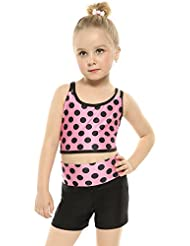 Arshiner Enfant Fille Maillots de Bain 2 Pièce Pois Robe de Danse 6-12 Ans