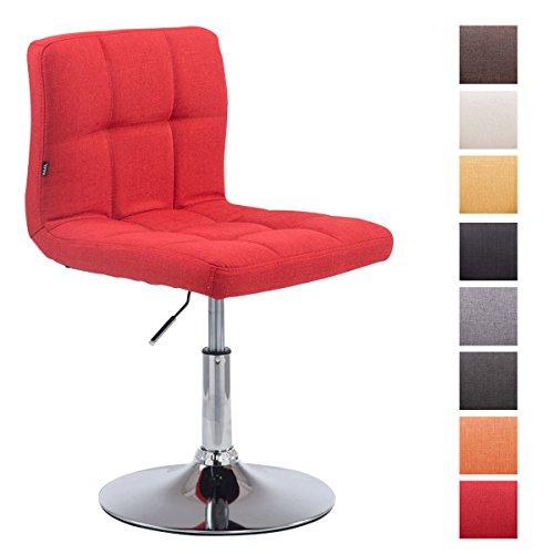 CLP Taburete Palma V2 en Tela I Silla Alta Regulable en Altura & Giratoria I Taburete Acolchado I Color: Rojo
