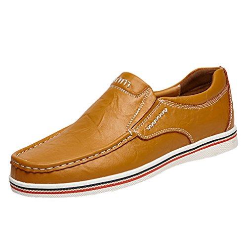 Dooxi uomo elegante piatto mocassini scarpe casuale scivolare loafers scarpe da barca marrone 43