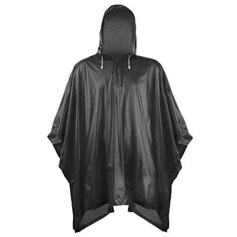 Splashmacs Unisex Adults Plastic Poncho / Rain Mac (One Size) (Black)