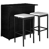 Ce mobilier de bar en résine tressée, comprenant 1 table de bar, 2 tabourets de bar et 2 coussins de siège, deviendra le point central de votre jardin. Grâce à la résine tressée résistante à l'eau, le mobilier de bar de patio est facile à nettoyer, r...