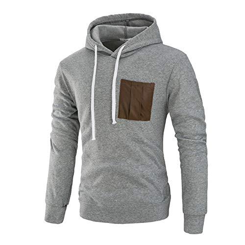 OSYARD Herren Solid Kapuzenpullover Hoodie, Langarm Herbst Winter Rundhalsausschnitt Sweatshirt Bluse Top Hoodie Kapuzen Outwear Bluse (3XL, Grau)