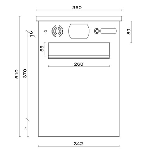 hochwertiger Edelstahl Briefkasten mit Halterung für Doppelstabmattenzaun, 1 Klingeltaster, Sprechgitter, RAL 7016 Anthrazitgrau (Art.Nr. 02.2 SET) - 3