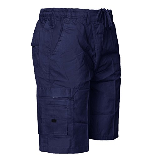 MENS ELASTICATED WAIST SHORTS CARGO COMBAT 6 POCKETS SUMMER BEACH COTTON PANTS[Navy ,XL]